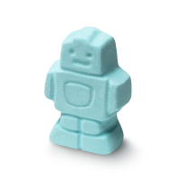 A pale blue robot shaped bath bomb