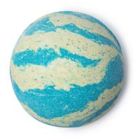 A blue and white striped bath bomb