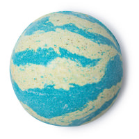 A blue and white striped bath bomb