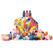 Large hatbox colourful gift set, with a range of bath and shower products