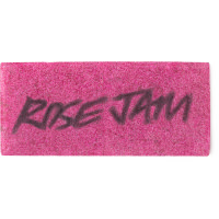 A bright pink washcard featuring the words rose jam