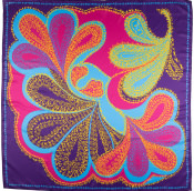 purple, pink, blue and yellow paisley themed knot wrap