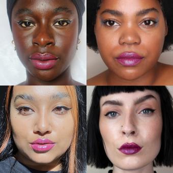 der violette midnight lippenstift auf unterschiedlichen models