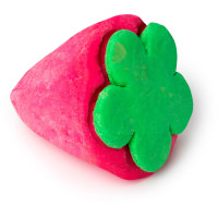 a pink and green strawberry shaped bubble bar
