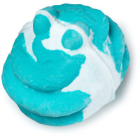 A blue and white bath bomb