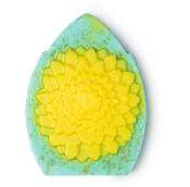 Sapone Scultura azzurro con fiore giallo