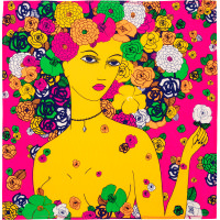 yellow and pink knot wrap with an illustration of a woman surrounded by flowers