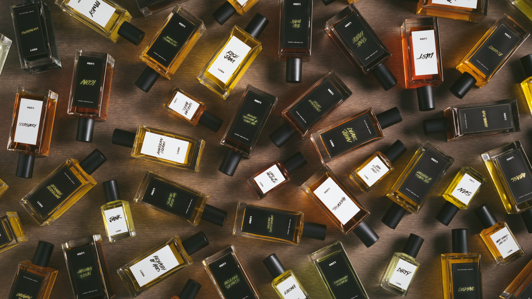 A selection of new 2019 Perfumes bottles laid flat upon a brown background