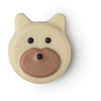hunny  bear é uma barra de massajar vegan em forma de urso de chocolate negro