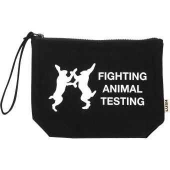 Fighting Animal Testing Cosmetic Bag - Pochette astuccio in cotone biologico di colore nero con stampa bianca