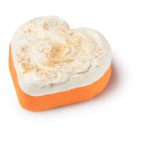 Öl-Schaumbad in Herzform in Orange und Weiß mit goldenem Glitzer