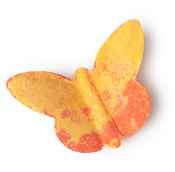 A Wild butterfly laranja e amarela é uma bomba de banho em forma de borboleta cheia de essential oils