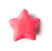 Pinkes, zweiteiliges, sternförmiges Ölbad mit cremiger, weißer Ölbadbutter zwischen den zwei Schichten