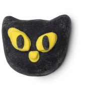 A black cat bubble bar with yellow eyes