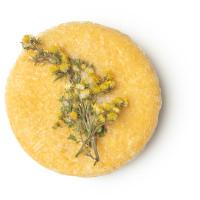 Shampoo Solido Halcyon Hair di colore giallo con decorazione di Fiori Secchi di Verga d'Oro