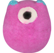 A pink bath bomb in the shape of a monster