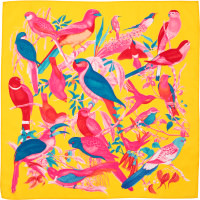 yellow, pink and blue bird pattern on knot wrap