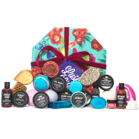 blue and red floral print gift box with products surrounding it