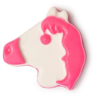 i want a pony é um óleo de banho com o formato de um pónei branco e rosa ideal para acalmar músculos doridos