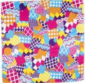 multicoloured zig zag themed knot wrap