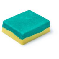 exfoliante corporal para cuerpo en formato sólido de color amarillo y verde