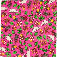 Fun guys é um dos lenços de natal rosa com várias figuras amorosas cogumelos folhas nuvens
