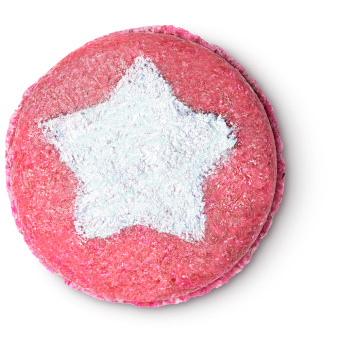pink coloured circular bar with a white star in the middle
