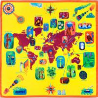 envoltorio ecológico con forma de mapa del mundo