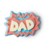 Superdad bomba de banho com oleos essenciais revigorantes para um banho animado verde e vermelho no Dia do Pai