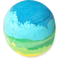 Bomba de banho de cor verde e azul