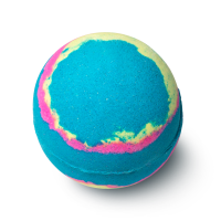A deep blue, spherical bath bomb with a multicoloured galaxy design.