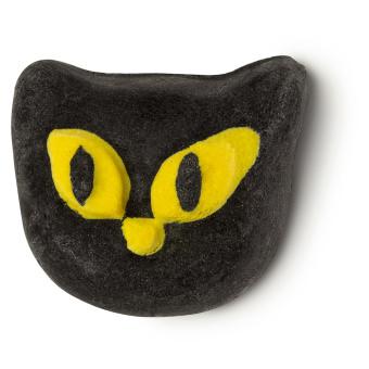 Spumante da bagno bewitched a forma di gatto nero con occhi gialli