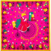Pinkes Tuch mit einem fahrradfahrenden Rentier