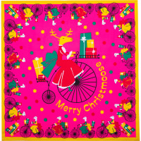 pink knot wrap with reindeer riding a bike