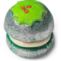 Spumante da bagno di Natale Puddy holly rivestito di glitter argentati e con decorazione di agrifoglio
