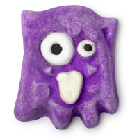 A ghost monster shaped purple bubble bar