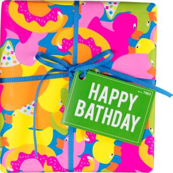 Happy Bathday bunte Geschenkbox mit blauer Schleife