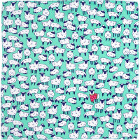 a pale blue knot wrap with illustrated sheep