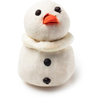 A snowman shaped bubbleroon with orange carrot nose