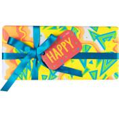 Gelbes Happy Geschenkpäckchen mit blauer Schleife