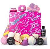 pink box with relax more written on it in blue wavy pattern and products surrounding it