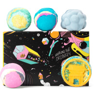 a black gift set with an array of lush bath bombs