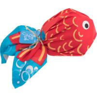Confezione regalo con knot wrap a forma di pesce rosso e blu