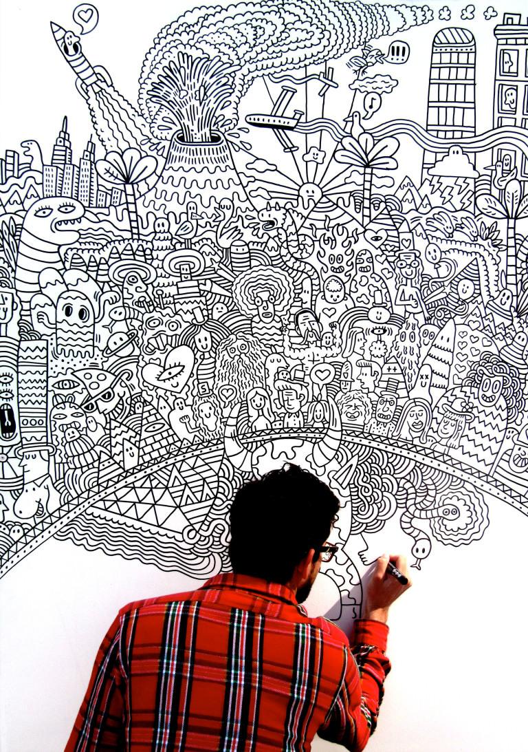 Serge Seidlitz creating a doodle