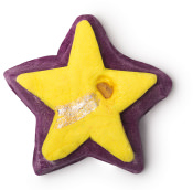 star shaped dark purple bubble bar with yellow star on top