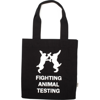 Borsa nera in cotone biologico con logo Fighting Animal Testing
