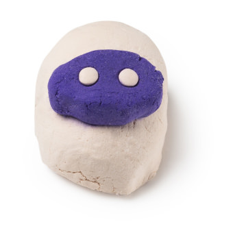 A white and purple Baa Bar bubble bar in the shape of a sheep