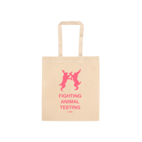 A natural cotton coloured tote with The Lush fighting hares logo in pink. PInk text below says Fighting Animal Testing.