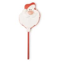 Schaumbad in Form eines Weihnachtsmannes auf einem Stäbchen