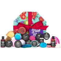 light blue gift box surrounded by products